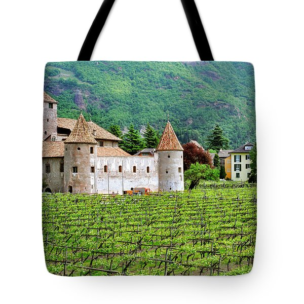 Castle And Vineyard In Italy Tote Bag by Greg Matchick