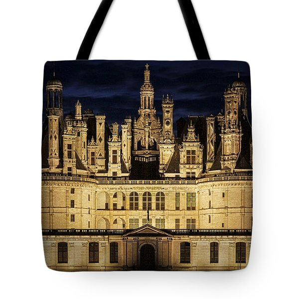 Tote Bag featuring the photograph Castle Chambord Illuminated by Heiko Koehrer-Wagner