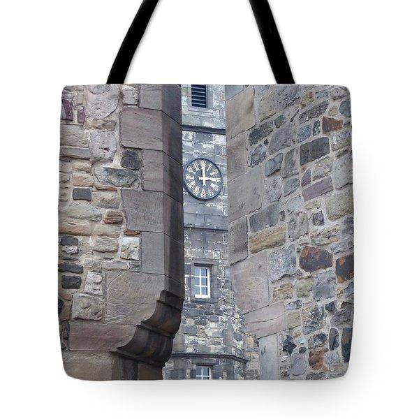 Castle Clock Through Walls Tote Bag