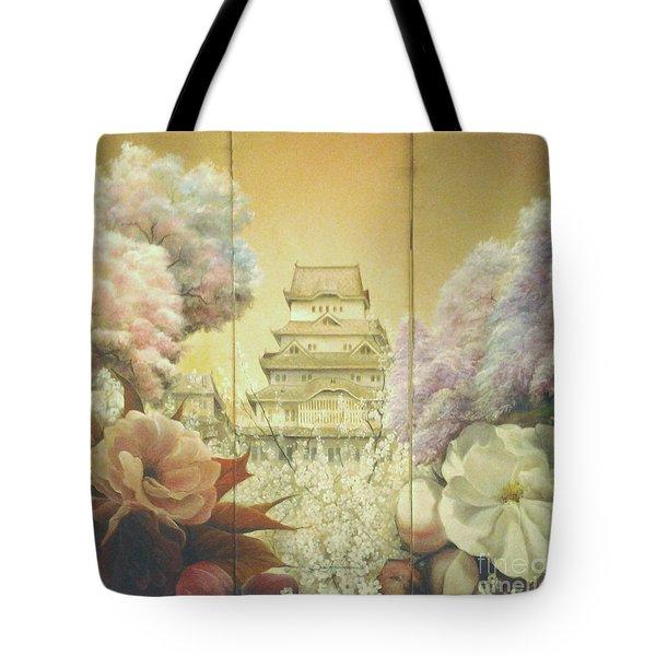Castle Himeji - Sakura Tote Bag by Sorin Apostolescu