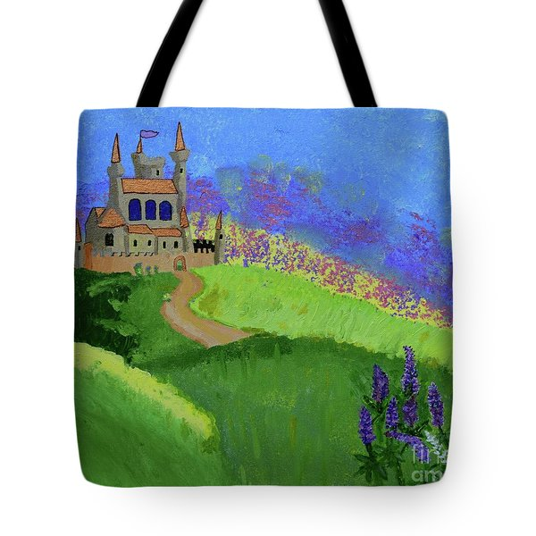Tote Bag featuring the painting Castle In The Sky by Johanne Peale