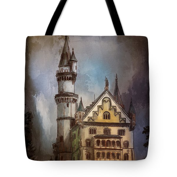 Tote Bag featuring the painting Castle Neuschwanstein by Andrzej Szczerski