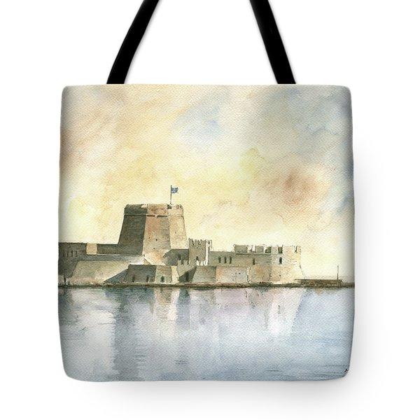 Castle Of Bourtzi In Nafplio Tote Bag by Juan Bosco