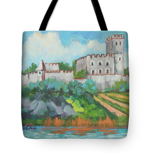 Tote Bag featuring the painting Castle On The Upper Rhine River by Diane McClary