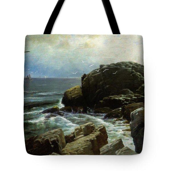 Tote Bag featuring the digital art Castle Rock - Marblehead by Lianne Schneider