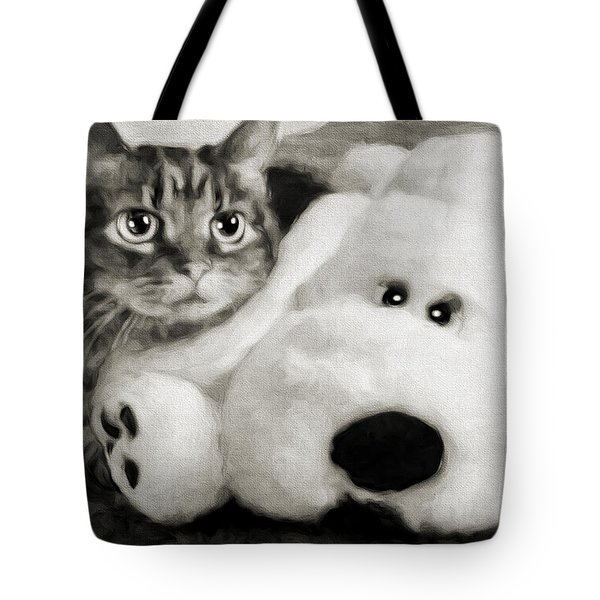 Tote Bag featuring the photograph Cat And Dog In B W by Andee Design