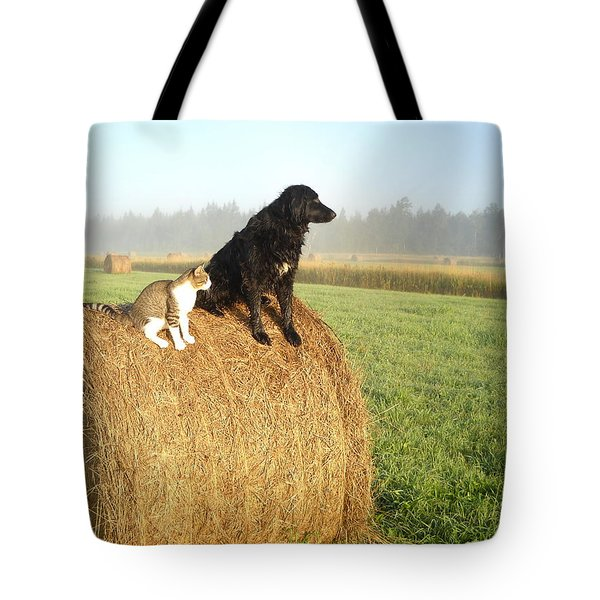 Cat And Dog On Hay Bale Tote Bag
