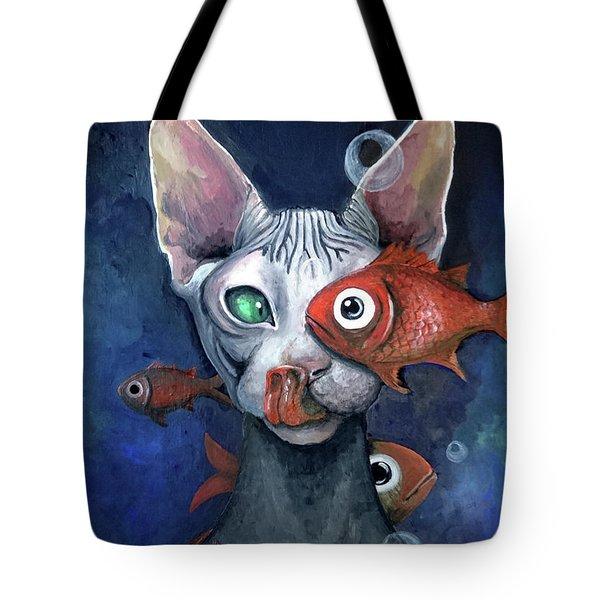 Cat And Fish Tote Bag