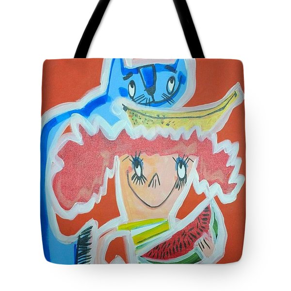Cat And Girl Tote Bag