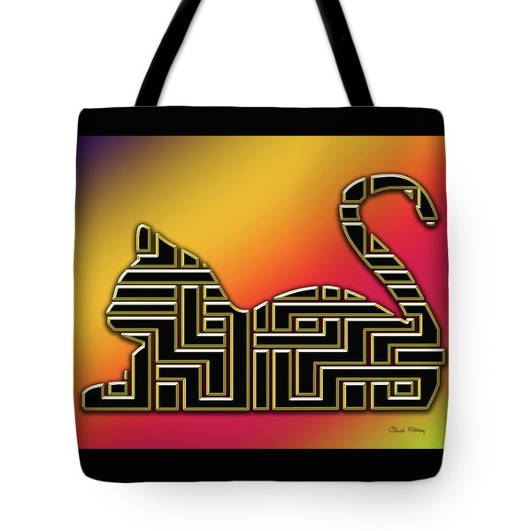 Tote Bag featuring the digital art Cat And Gold Screen 2 by Chuck Staley