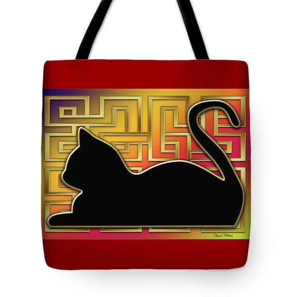 Tote Bag featuring the digital art Cat And Gold Screen by Chuck Staley