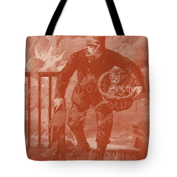 Cat And Kittens Are Safe Tote Bag