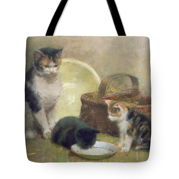 Cat And Kittens Tote Bag
