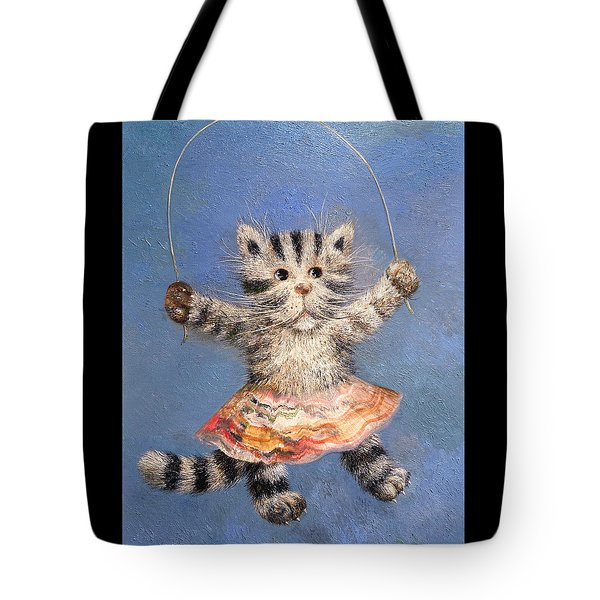 Cat And Skip Rope Tote Bag by Mikhail Savchenko