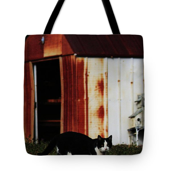 Cat And The Tool Shed Tote Bag by Kim Henderson