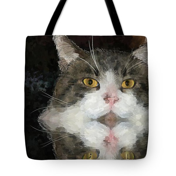 Cat At The Table Tote Bag