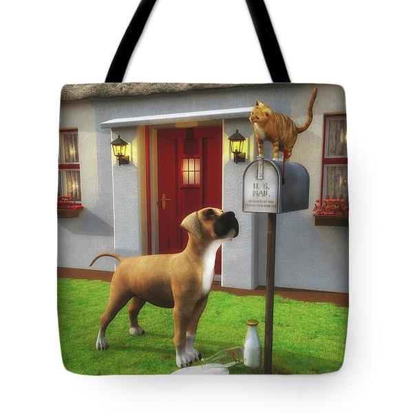 Cat Atop The Mailbox Tote Bag