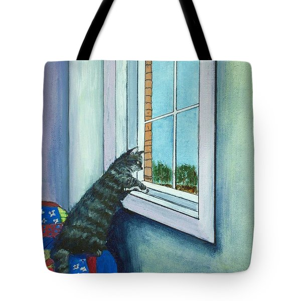 Cat By The Window Tote Bag by Anastasiya Malakhova