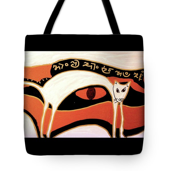 Tote Bag featuring the mixed media Cat by Clarity Artists