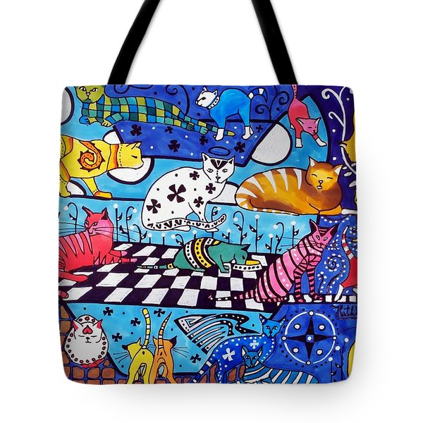 Cat Cocktail - Cat Art By Dora Hathazi Mendes Tote Bag