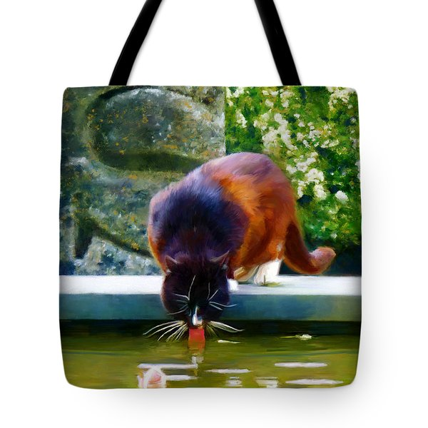 Tote Bag featuring the painting Cat Drinking In Picturesque Garden by Menega Sabidussi