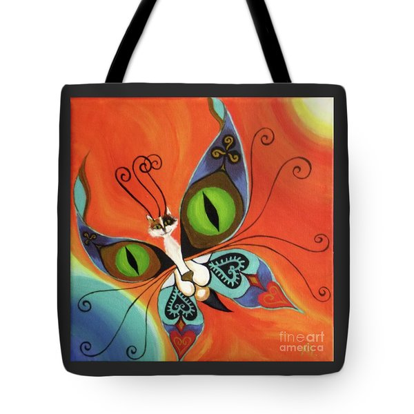Cat-eyes Butterfly Tote Bag by Melina Mel P