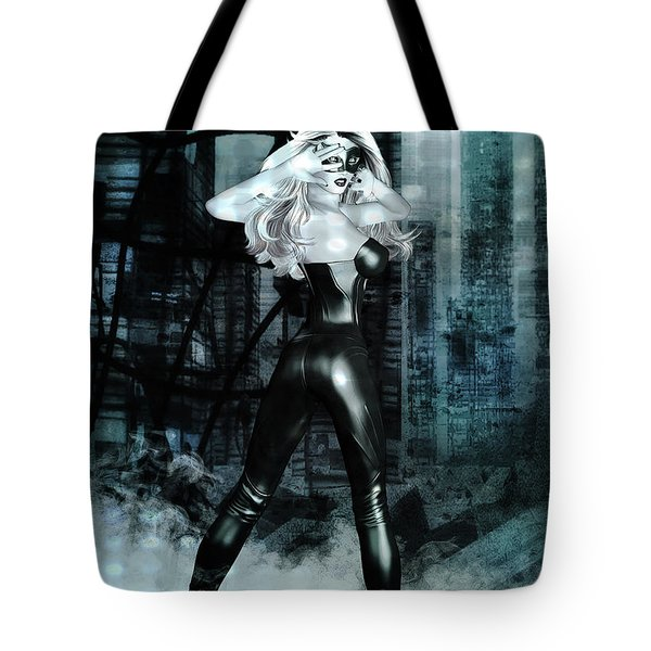 Cat Girl Comic Like Pinup Tote Bag