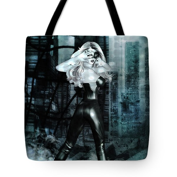 Cat Girl Comic Like Pinup Tote Bag