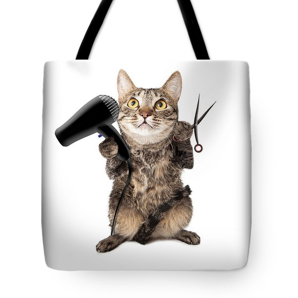 Cat Groomer With Dryer And Scissors Tote Bag
