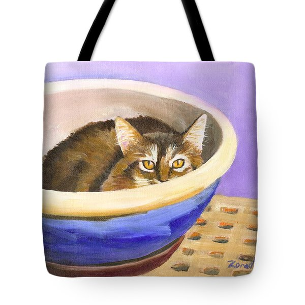 Cat In Bowl Tote Bag by Mary Jo Zorad
