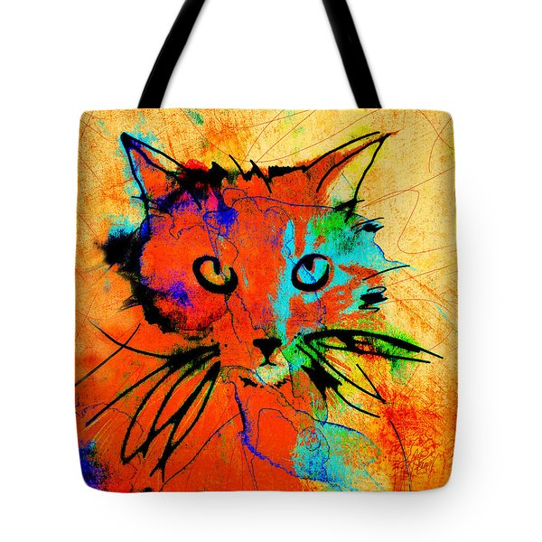 Cat In Red And Yellow Tote Bag