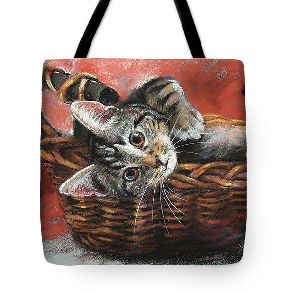 Cat In The Basket Tote Bag