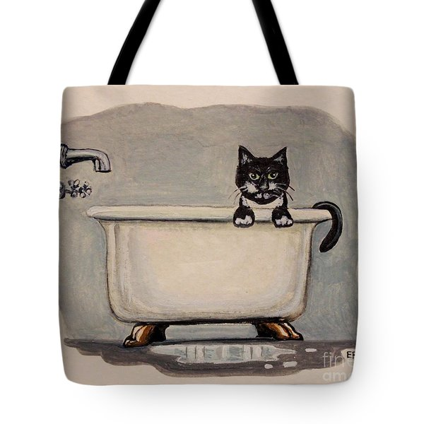 Cat In The Bathtub Tote Bag by Elizabeth Robinette Tyndall