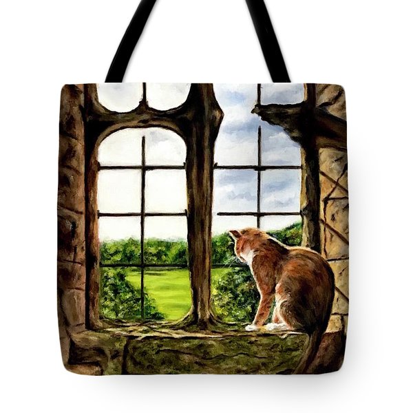 Cat In The Castle Window-close Up Tote Bag