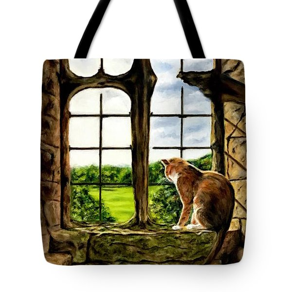 Cat In The Castle Window Tote Bag