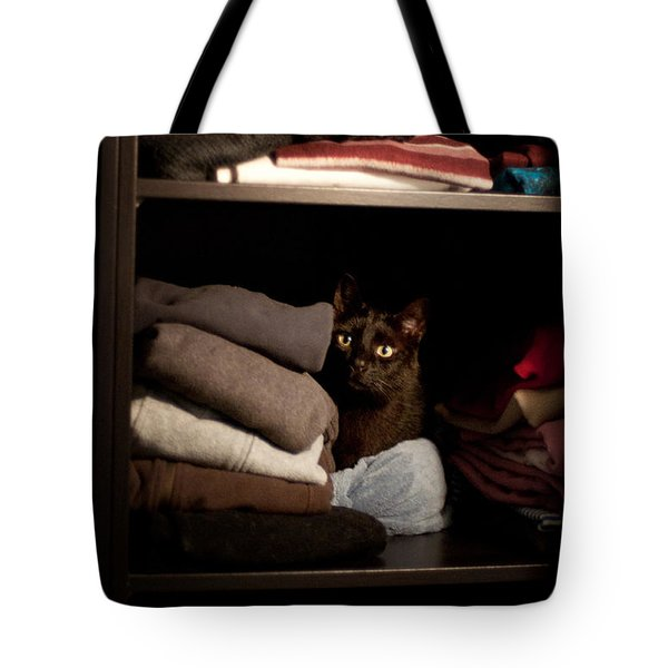 Tote Bag featuring the photograph Cat In The Closet by Laura Melis