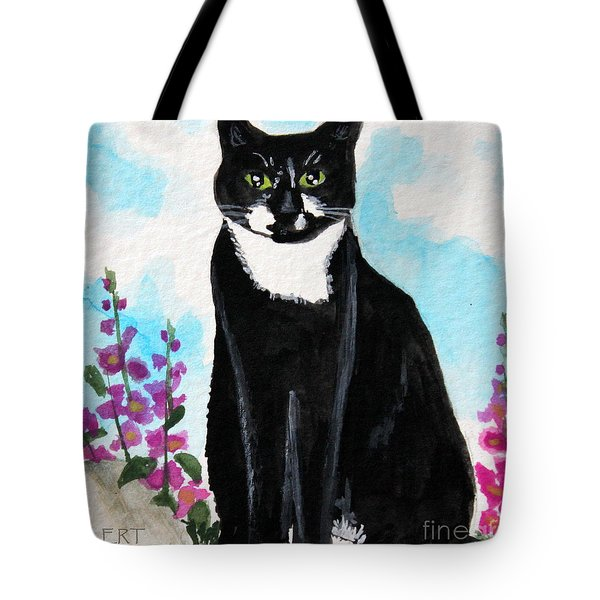 Cat In The Garden Tote Bag by Elizabeth Robinette Tyndall