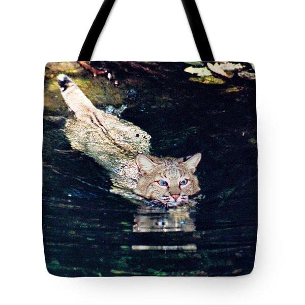 Cat In The Water Tote Bag