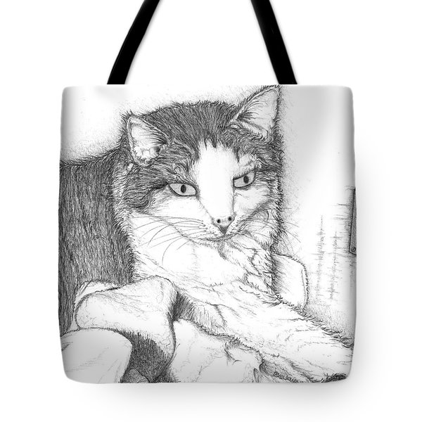 Tote Bag featuring the drawing Domestic Cat by Jason Girard