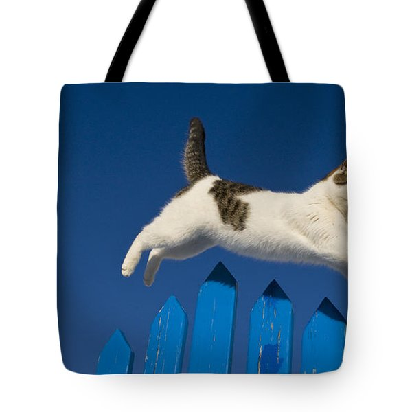 Cat Jumping A Gate Tote Bag by Jean-Louis Klein & Marie-Luce Hubert