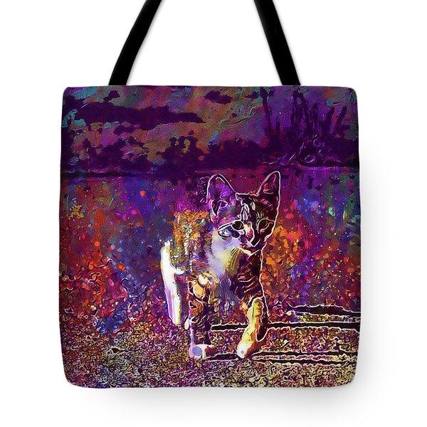 Tote Bag featuring the digital art Cat Kitten Cat Baby Mackerel  by PixBreak Art