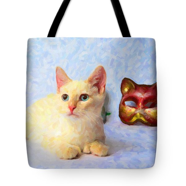 Cat Mask Tote Bag by Andre Faubert