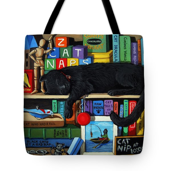 Tote Bag featuring the painting Cat Nap - Orginal Black Cat Painting by Linda Apple