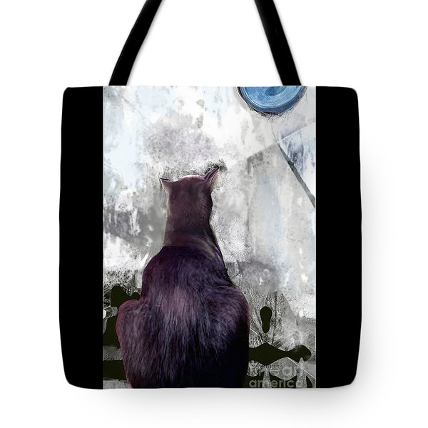 Cat's Blue Moon Tote Bag