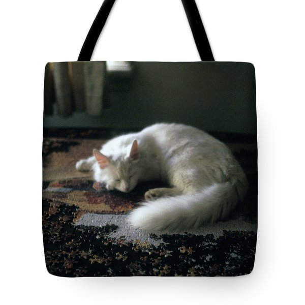 Cat On A Puzzle Tote Bag