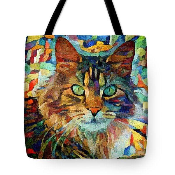 Cat On Colors Tote Bag