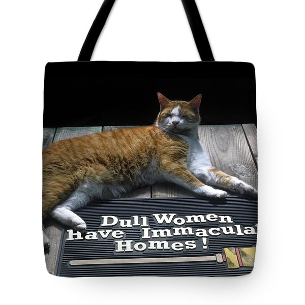 Cat On Dull Women Mat Tote Bag by Sally Weigand