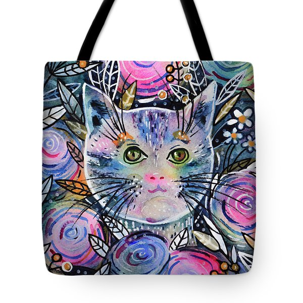 Tote Bag featuring the painting Cat On Flower Bed by Zaira Dzhaubaeva