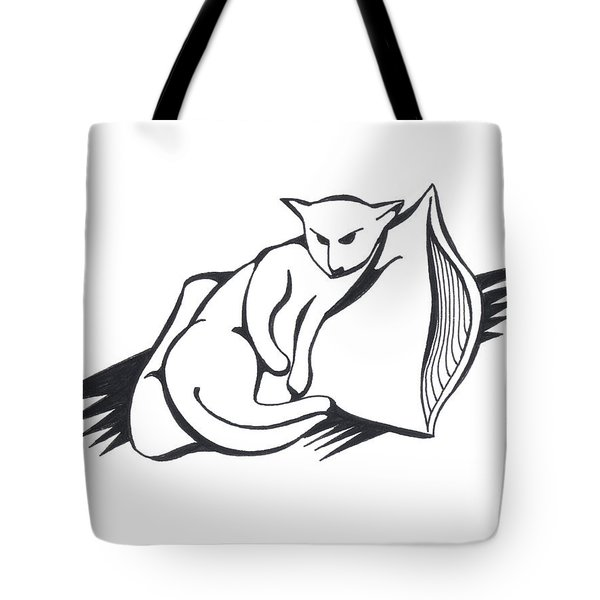 Tote Bag featuring the drawing Cat On Pillow by Keith A Link