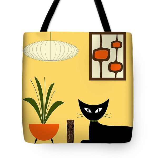 Tote Bag featuring the digital art Cat On Tabletop With Mini Mod Pods 3 by Donna Mibus